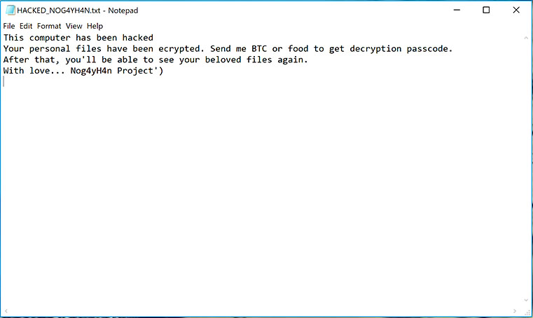 Terminate Nog4yH4n Project Ransomware (Crypto-Malware/Ransomware)