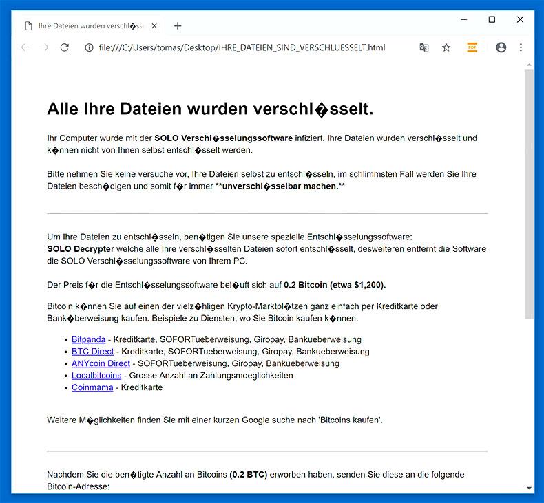 Obliterate SOLO Ransomware (Crypto-Malware/Ransomware)