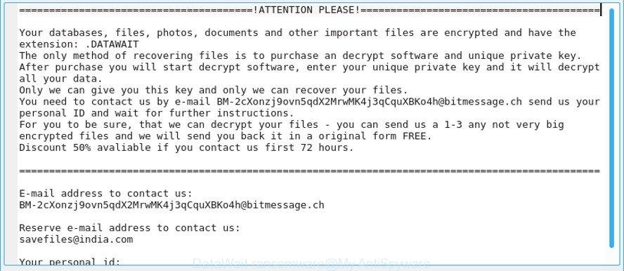 Kill DataWait Ransomware (Crypto-Malware/Ransomware)