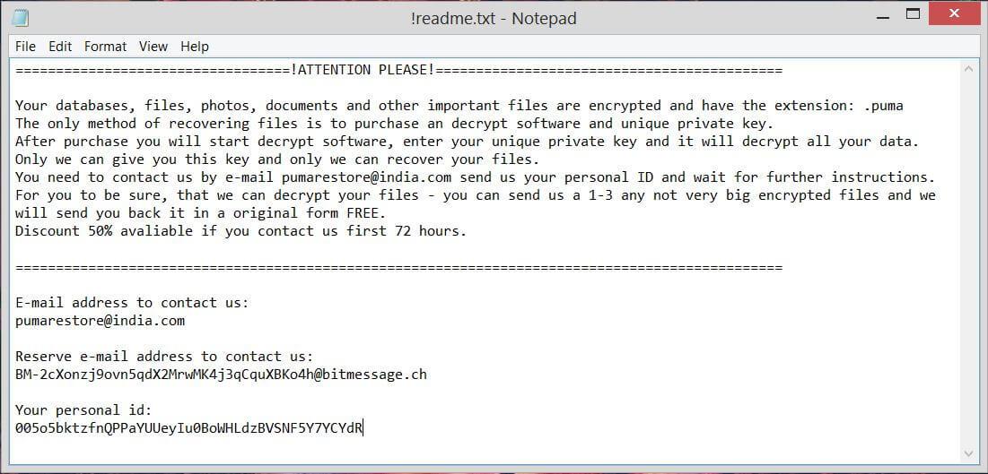 Obliterating Pumas Ransomware (Crypto-Malware/Ransomware)