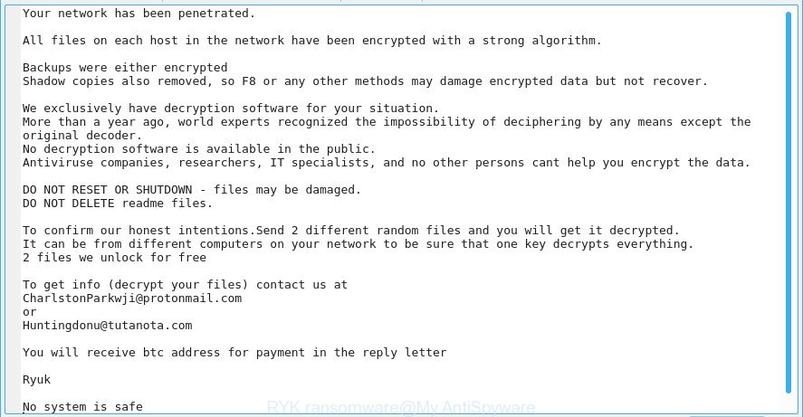 Obliterate RYK Ransomware (Crypto-Malware/Ransomware)