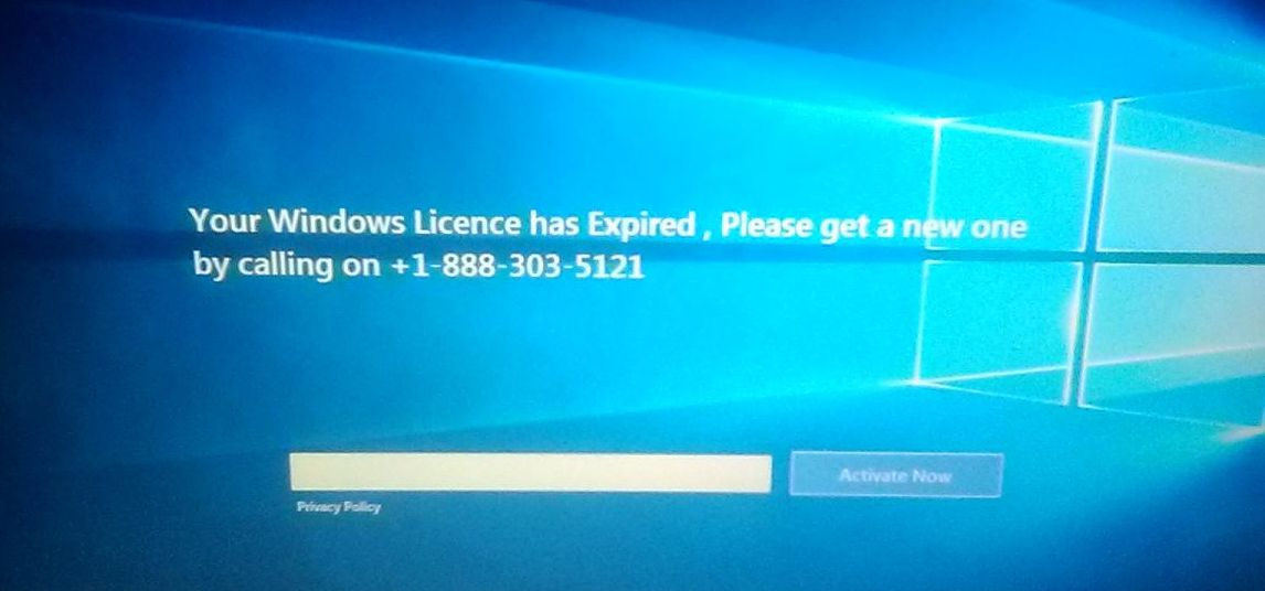 Your Windows License has Expired Scam
