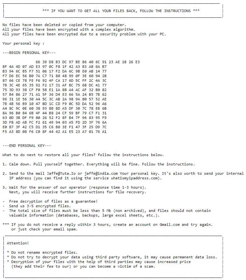 Jaffe Ransomware