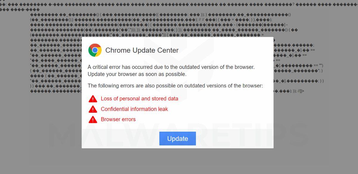 Chrome Update Center Scam