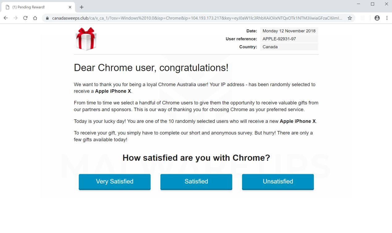Dear Chrome User Congratulations Scam