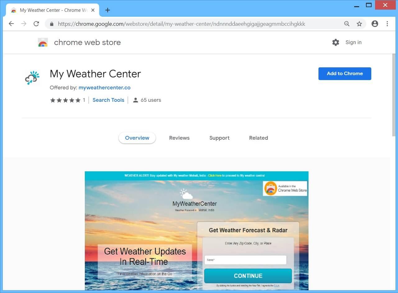 Myweathercenter Browser Hijacker
