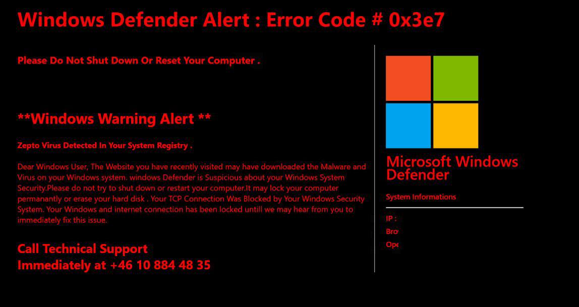 Windows Defender Alert Error Code #0x3e7