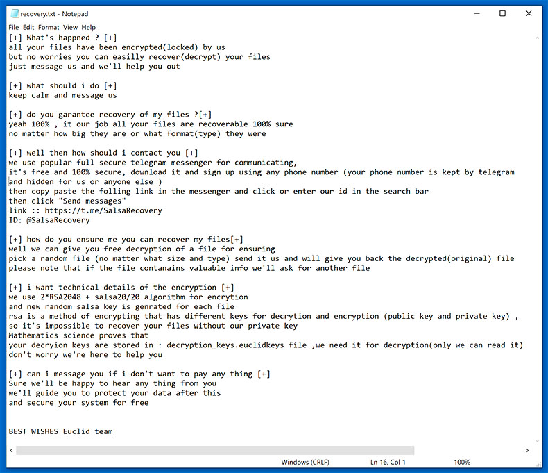 Obliterate Euclid Ransomware (Crypto-Malware/Ransomware)