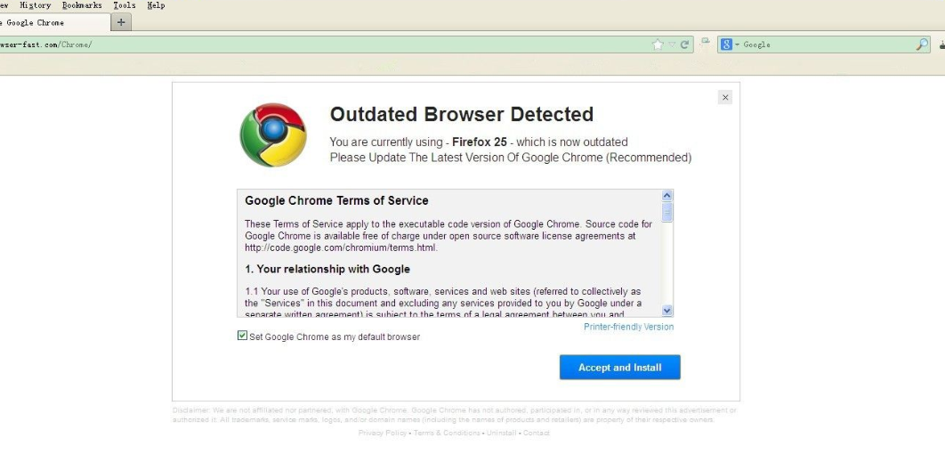 Outdated Browser Detected Scam