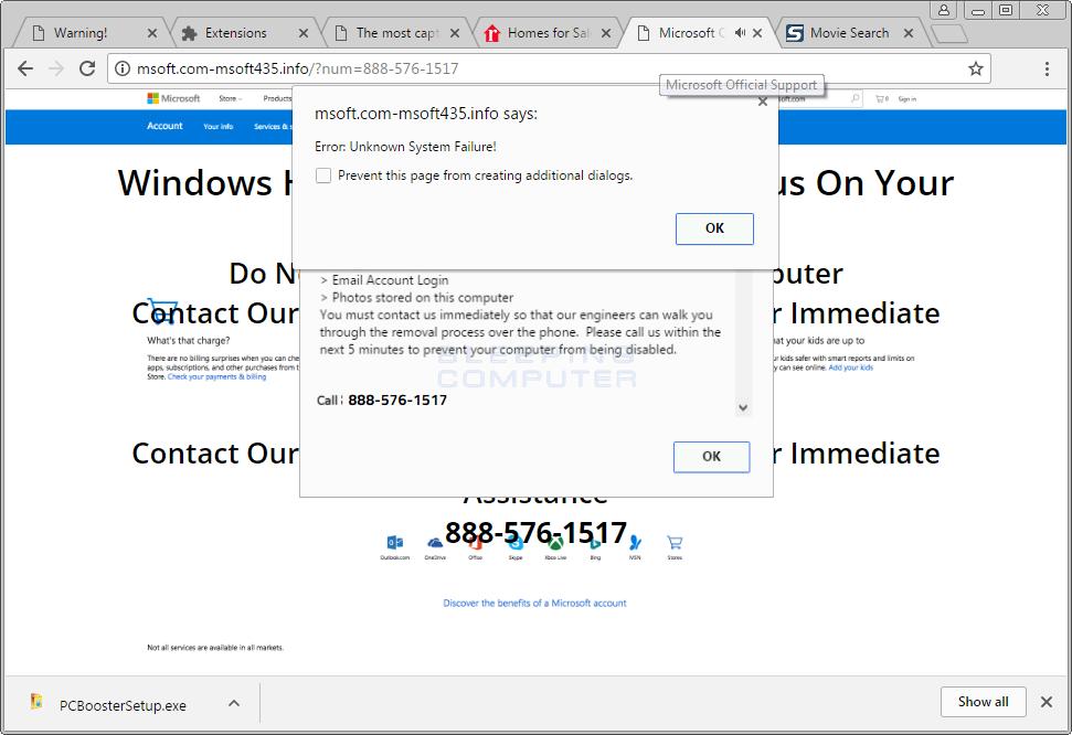 Unknown System Failure Scam