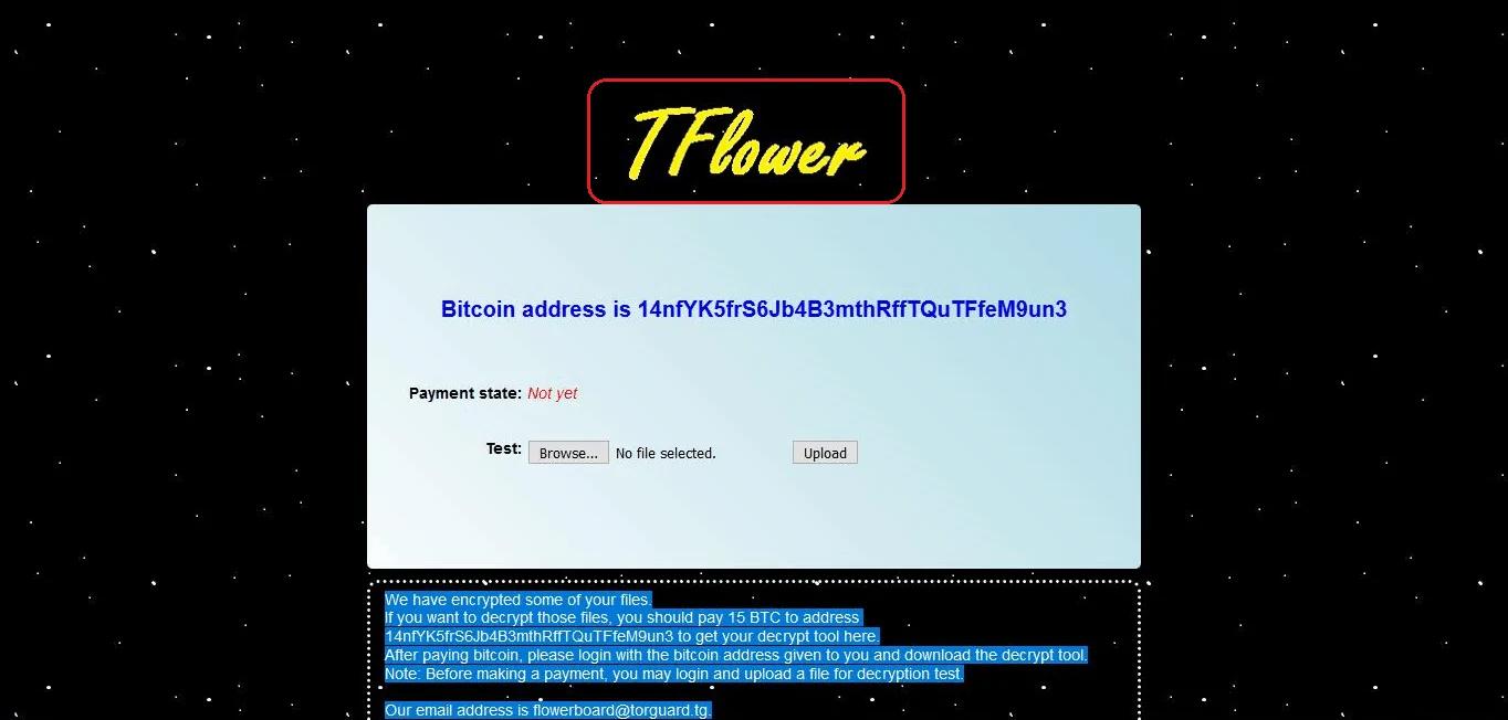 TFlower Ransomware CryptoMalware