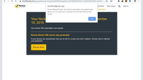 Norton subscription has expired today Scam thumb