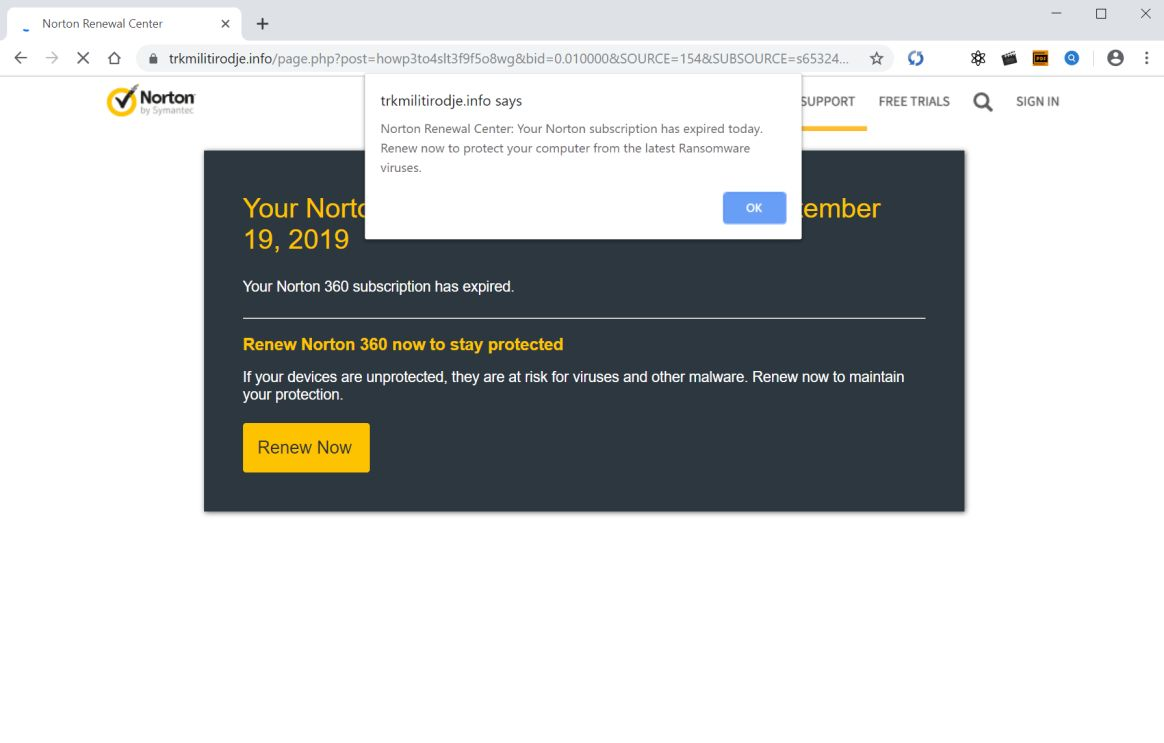 Norton subscription has expired today Scam